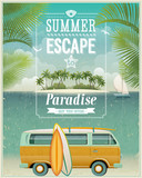 Vintage seaside view poster with surfing van. Vector background.