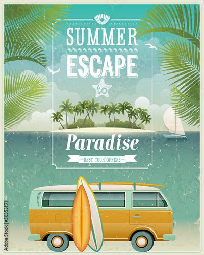 obraz lub plakat Vintage plakat z widokiem nad morzem surfowanie van. Vector tle.