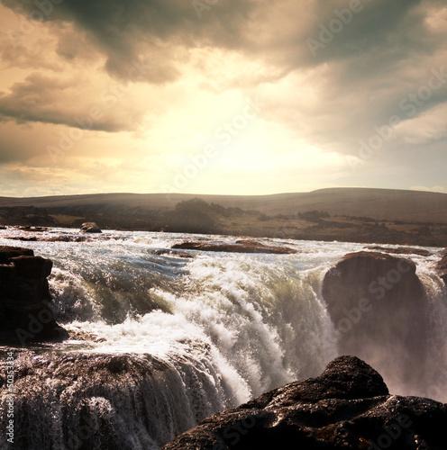 Naklejka Wodospad w Islandii