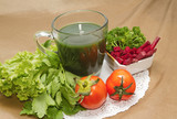Healthy breakfast  menu , vegetable juice and Beetroot  salad