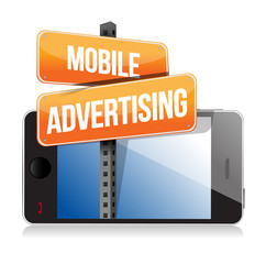 mobile smart phone. Mobile advertising sign