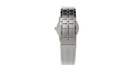 Silver wristwatch rotates on white background