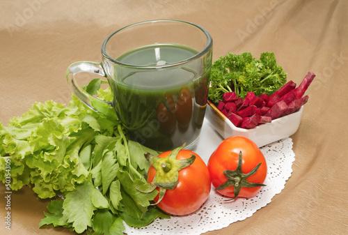 Healthy breakfast  menu , vegetable juice and Beetroot  salad