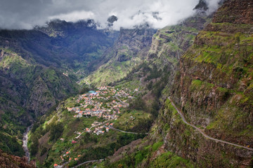 small village in high mountains on madeira island, portugal
