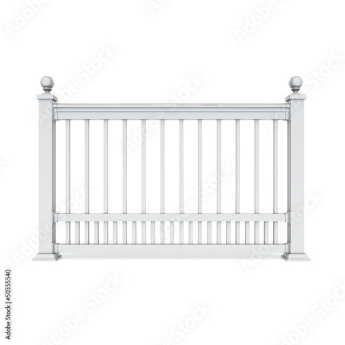 White metal design railing with Sphere