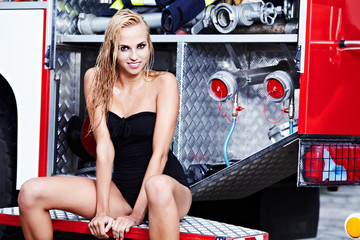 Sexy  woman and fire truck