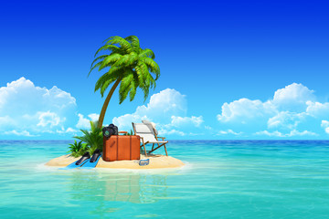 Tropical island with palms, chaise lounge, suitcase.