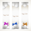 Banners with Easter eggs and colorful ribbons