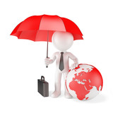 Businessman with Umbrella and globe. Global protection concept