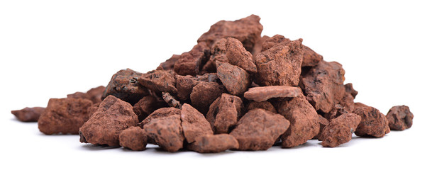 Heap of natural iron ore isolated on white background