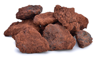 Natural sample of iron ore isolated on white background