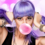 Beauty Stylish Party Girl. Purple Wig and Bubble Gum