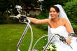 Funny bride chick laughing sitting Harley Davidson