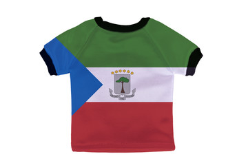 Small shirt with Equatorial Guinea flag isolated on white backgr
