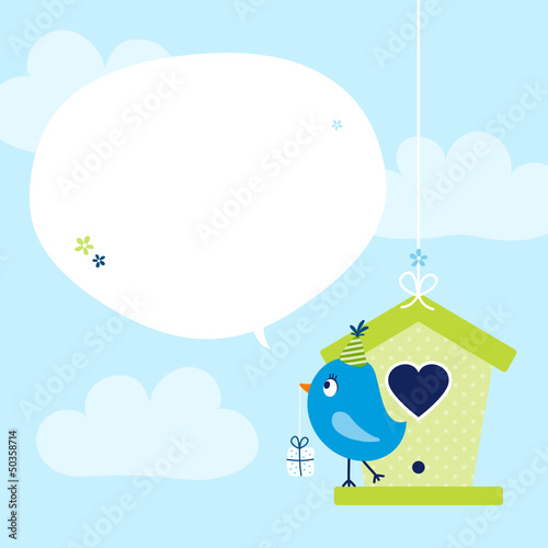 Blue Bird Birdhouse Gift Speech Bubble Sky