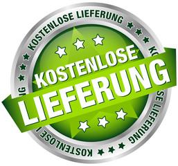 """Button Banner """"Kostenlose Lieferung"""" grün/silber"""