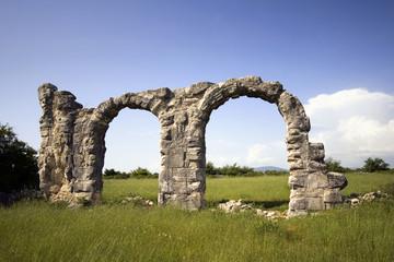 Ruins of Roman Legion camp in National park Krka, Croatia