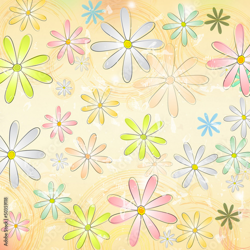spring daisy flowers over beige old paper background with circle