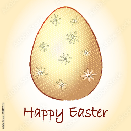 Happy Easter and striped beige egg with flowers