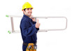 Young worker holding a ladder and thumb up, isolated on white