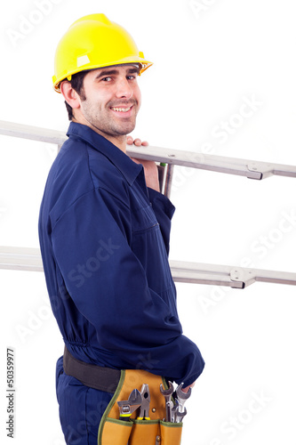 Portrait of a happy worker holding a ladder, isolated on white