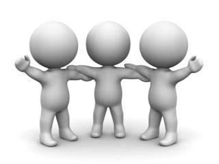 3D Men holding hands teamwork concept