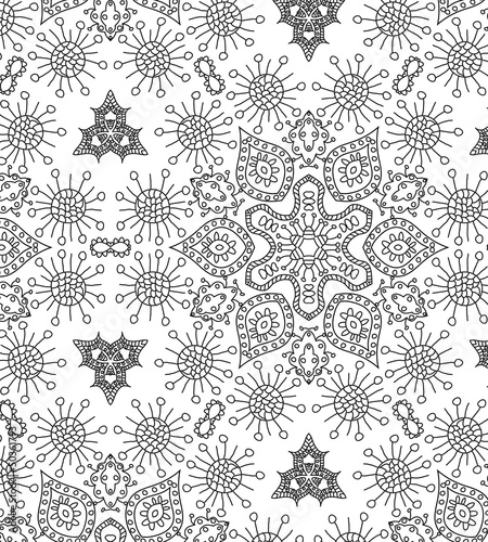 vector seamless hand drawn gray floral pattern background