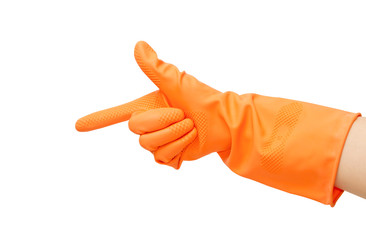 hand with orange glove pointing hand to something