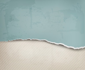 Old background with ripped paper and old wall. Vector illustrati