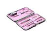 Pink manicure set, isolated on white backgroun