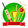 vector illustration of cricket kit with trophy