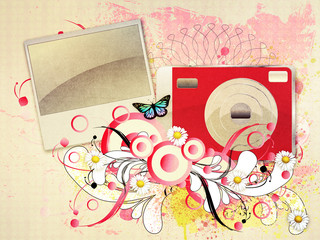 Red compact camera with flourish