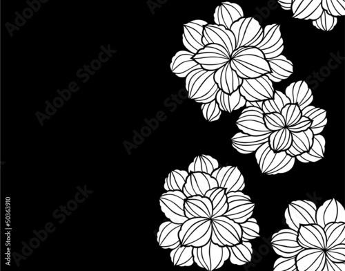 Poster Bloemen zwart wit 和柄パターン
