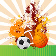 vector illustration of soccer, basketball and rugby ball