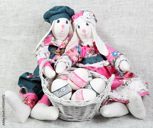 Two Easter Handmade Bunnies with Decorated Eggs