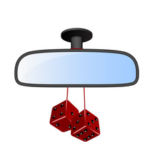 Car mirror with pair of red dices