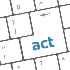 Act button on keyboard with soft focus