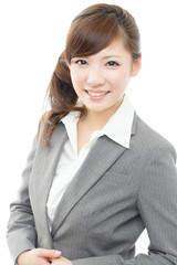 Beautiful asian business woman on white background