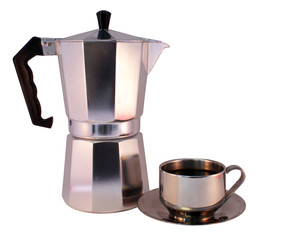 Moka Pot and Cup of Coffee