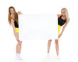 Young  women with empty board for the text.