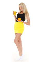 Young woman with glass of orange juice.