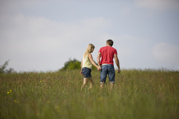 A young couple walking hand in hand in a field in summertime
