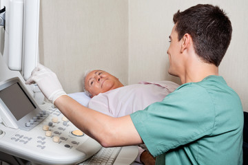 Patient Looking At Ultrasound Machine's Screen