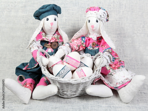 Easter Handmade Bunnies with Decorated Eggs