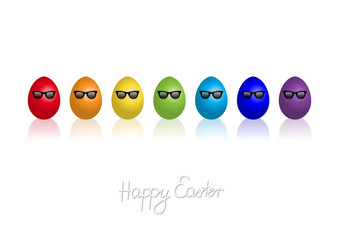 """Rainbow coloured easter eggs with sun glasses and """"Happy Easter"""""""