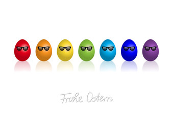 """Regenbogenfarben Ostereier mit Sonnenbrillen """"Frohe Ostern"""""""