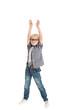 Кудрявый мальчик блондин поднял руки вверх
