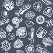 Nautical badges vector  seamless pattern