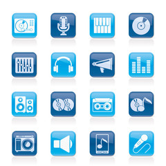 Music and audio equipment icons - vector icon set