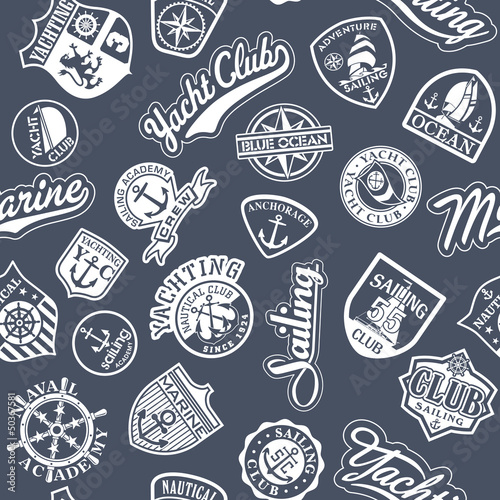 Fridge magnet Nautical badges vector  seamless pattern